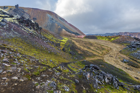 The landscape of Landmannalaugar seen from the slope of Brennisteinsalda volcano mountain in Highlands of Iceland. Fjallabak Natural park. 写真素材