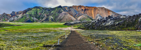 Mountain landscape panorama of Landmannalaugar in the morning. Highlands of Iceland, Fridland ad Fjallabaki Natural park in July. Фото со стока