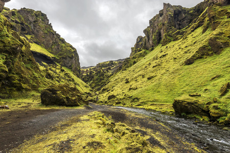 Thakgil canyon in Southern Iceland in Kerlingardalur Road Kerlingardalur is following the course of Kerlingardalsa river stream.