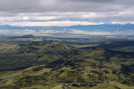 Southwestern part of Lakagigar volcanic crack as seen from Laki Volcano in South of Iceland.