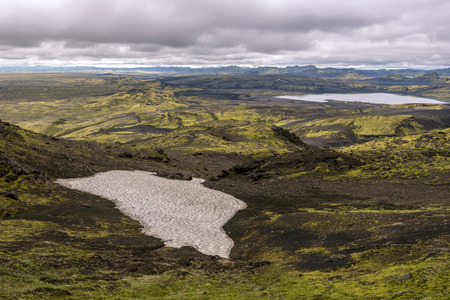 Southwestern part of Lakagigar volcanic crack seen from the slope of Laki Volcano in South of Iceland. Lambavatn lake is at right background.