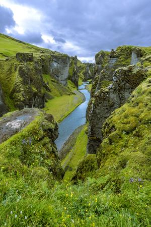 View of Fjadrargljufur Canyon towards the upstream of Fjadra river. South East of Iceland.