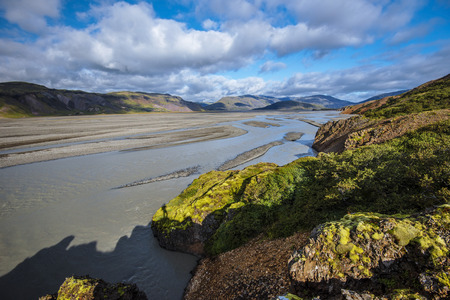 Valley of Jokulsa I Loni braided river seen towards Lonsoraefi natural reserve in South East of Iceland. 写真素材 - 125486208