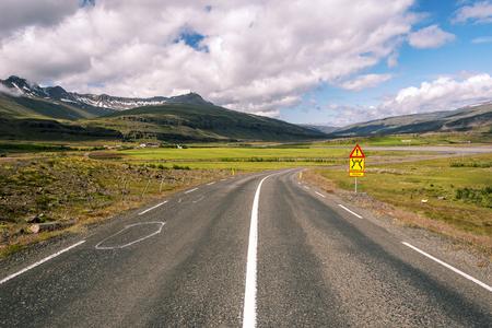 Ring road 1 in Eastern Iceland before crossing Hamarsa stream. Bragdavellir farm area is at left background.