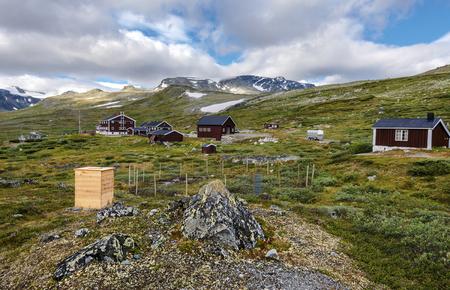 Glitterheim huts in Jotunheimen mountain area, the departure to hike Glittertinden peak. Oppland, Norway. 写真素材