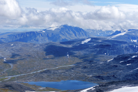 The Valley of Sjoa river and Steinbuvatnet lake as seen from Glittertind mountain. Lom, Norway