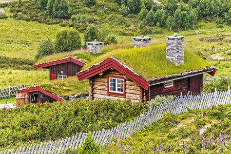 Traditional farmers houses in Norwegian countryside. Locality Brumsdalsbekken, Ringebu municipality in Oppland country, Norway.