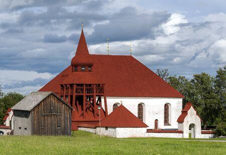 Old medieval church in Sweden village Oviken, Swedish region of Jamtland.