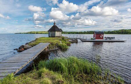 Kakuasen village sauna in the islet in Gaxsjon lake in Northern Sweden.