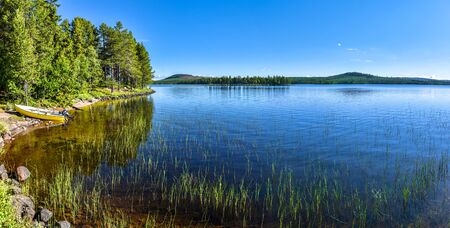 Panoramic view at Siebdniesjavrrie lake in Swedish Lapland. Vasterbotten county, Norrland, Sweden.