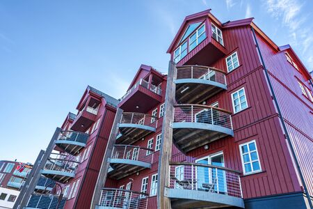 The Residential Building, as an example of the Modern Nordic architecture in the center of Svolvaer Town, the capital of Lofoten archipelago. Nordland, Northern Norway.