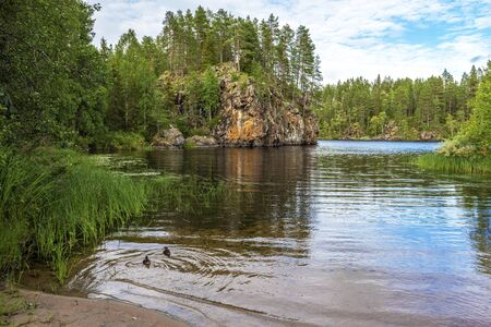 In the border of Ala-Juumajarvi lake in Oulanka National Park, the starting point of Pieni Karhunkierros Trail in Finland. Stockfoto