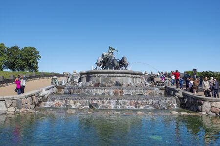 Copenhagen, Denmark - August 23, 2017 Frontal view of The Gefion Fountain in the harbor of Copenhagen is the important touristic attraction. 報道画像