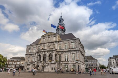 Maastricht, Netherlands-August 24, 2017 Maastricht Town Hall as seen from Markt square, the building if the example of Dutch classicism style.