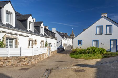 Typical houses in the village of Houat island in French Brittany. 写真素材