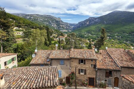 The Loup gorge as seen from the Church square of Le Bar-sur-Loup village in Southeastern France.