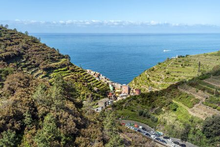 Manarola village viewed from hills in the direction iof Mediteranean Sea. Cinque Terre National parc  in the Northwest of Italy.