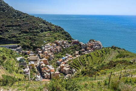 Manarola village as seen from the Trail 6p pass. Cinque Terre National parc in the Northwest of Italy.