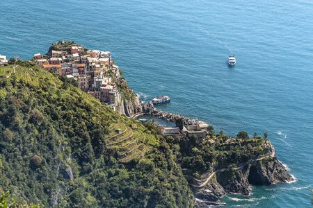 Manarola village as seen from the Trail 6p pass from the North. Cinque Terre National parc in the Northwest of Italy.