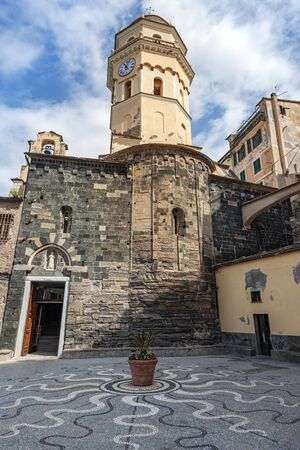 Santa Margherita Church in Vernazza village. Cinque Terre coastal area, Liguria, Italy.