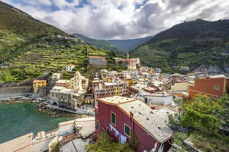 Vernazza village in Cinque Terre coastal area viewed from the castle. Liguria, Italy. 写真素材