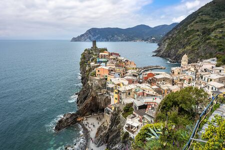 Vernazza village and Cinque Terre coastal area as seen from the Trial Sentiero Azzuro. Liguria, Italy.