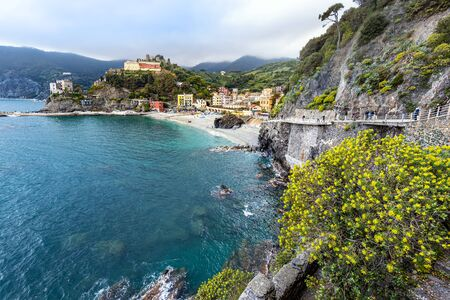 Monterosso al Mare village and Cinque Terre coastal area as seen from the trial from Vernazza.  Liguria region in Italy.