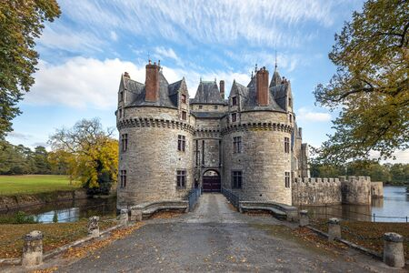 The entrance to Bretesche medieval castle. Missillac commune in Loire-Atlantique region of France.