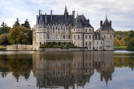 Bretesche medieval castle as seen from the pond. Missillac commune in Loire-Atlantique region of France.