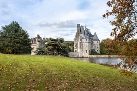 The view of Bretesche castle from the park. Missillac commune in Loire-Atlantique region of France.