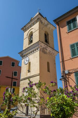 Bell Tower in Manarola village, Cinque Terre, Liguria, Italy.