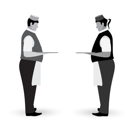Waiter flat gray icon standing left and right side with a dish tray in hand isolated on white background