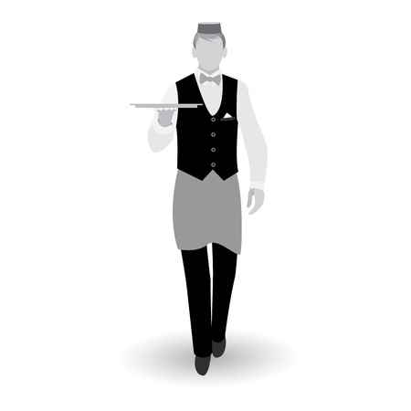 Flat walking gray waiter with dish tray icon isolated on white background Иллюстрация