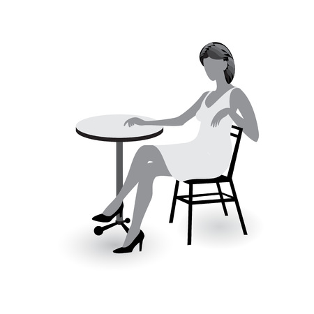 Young lady sitting at the cafe table gray icon isolated on white background