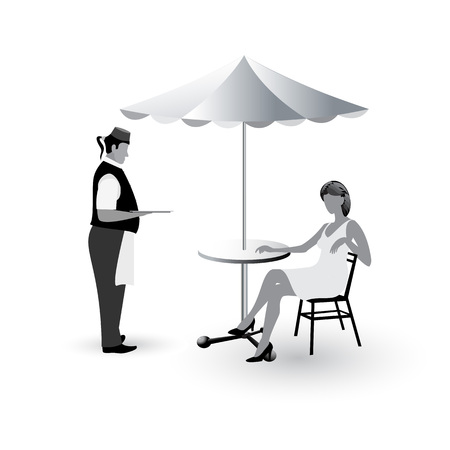 Waiter with a tray in his hand standing in front of girl sitting at the cafe table with umbrella flat icons isolated on white background