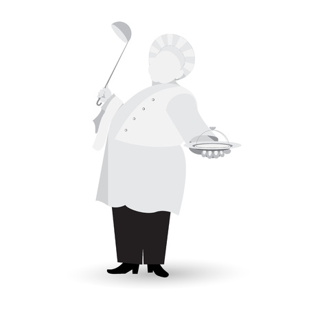 Monochrome chef with ladle in hand flat icon isolated on white background