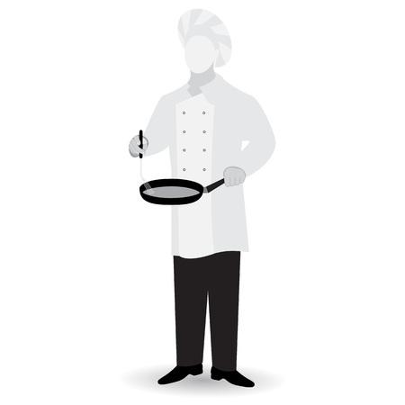 Monochrome chef flat icon isolated on white background