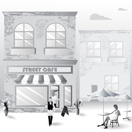 Flat street cafe house with characters on light background