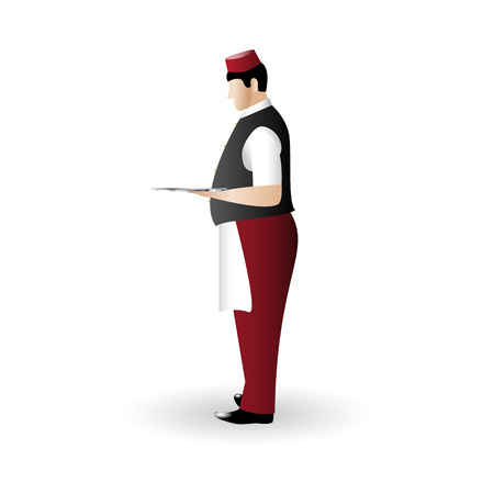 Waiter color flat icon standing sideways with a dish tray in hand isolated on white background