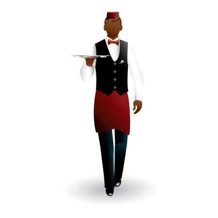 Flat walking bronze waiter with dish tray icon isolated on white background