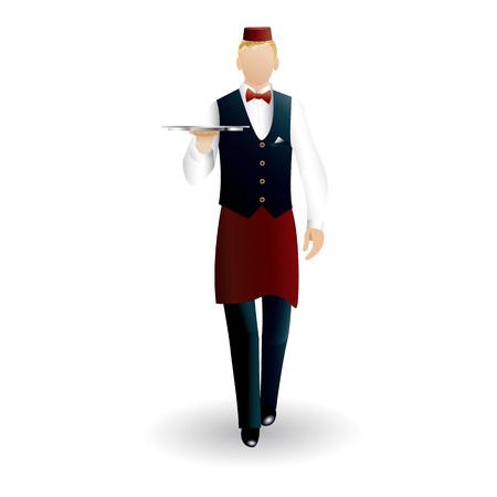 Flat walking waiter with dish tray icon isolated on white background