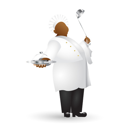Fat chef flat colored icon with gradient fill isolated on white background