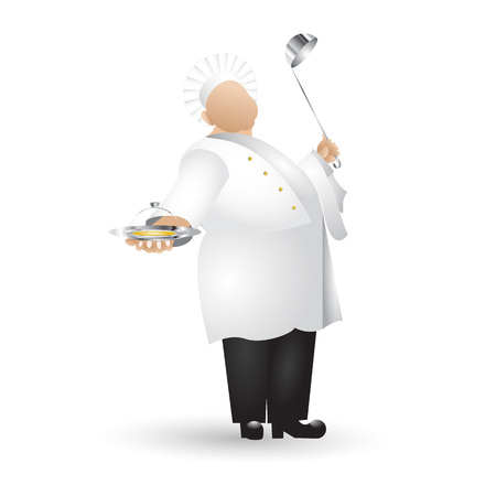 Flat chef colored icon with gradient fill isolated on white background Иллюстрация