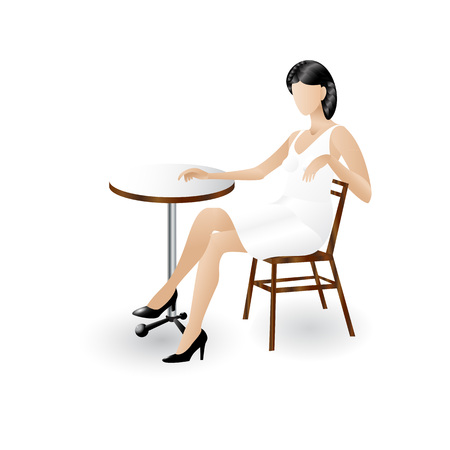 Young lady sitting at the cafe table icon isolated on white background