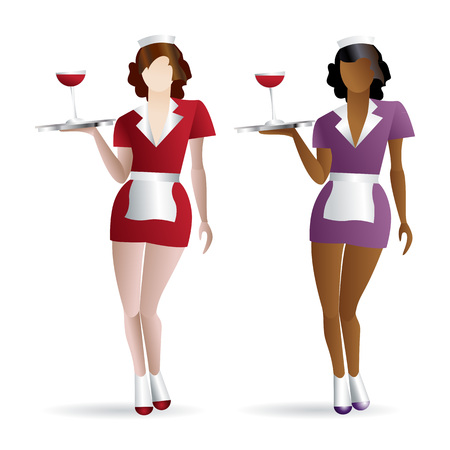 Two flat waitresses colored icons with gradient fill isolated on white background Ilustrace
