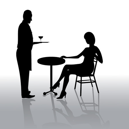 Black silhouettes of waiter standing in front of girl sitting at the table isolated on light background with a shadow