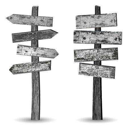Two gray-scaled textured wooden vintage signposts isolated on white background Иллюстрация