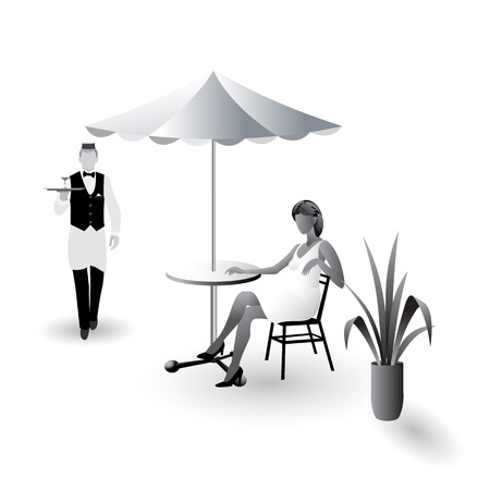 Waiter with a tray in his hand walking to girl sitting at the cafe table with umbrella flat icons isolated on white background Иллюстрация