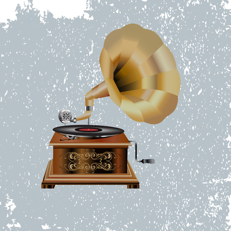 Icon realistic gramophone isolated on light gray vintage background Иллюстрация