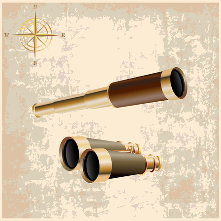 Set of realistic spyglass  and retro binoculars icons isolated on a light brown vintage background